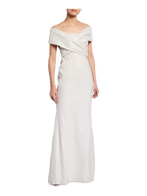 Rickie Freeman for Teri Jon Metallic Off-the-Shoulder Crossover-Bodice Gown