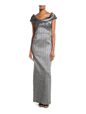 Rickie Freeman for Teri Jon Metallic Twist-Front Jacquard Gown