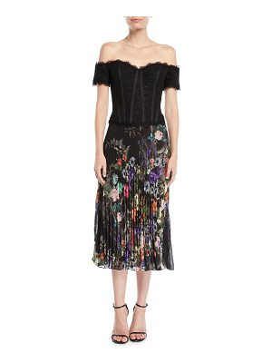Rickie Freeman for Teri Jon Off-the-Shoulder Dress w/ Pleated Skirt