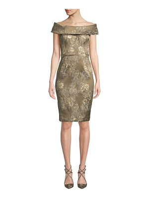 Rickie Freeman for Teri Jon Off-the-Shoulder Floral Stretch Jacquard Cocktail Dress