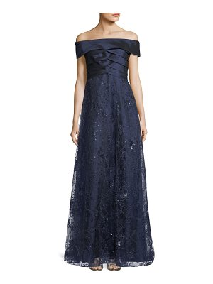 Rickie Freeman for Teri Jon Off-the-Shoulder Shutter A-Line Gown