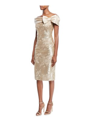Rickie Freeman for Teri Jon Portrait-Neck w/ Bow Sequin Lace Sheath Cocktail Dress