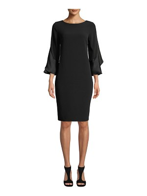 Rickie Freeman for Teri Jon Ruffle-Sleeve Sheath Dress
