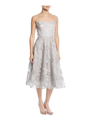 Rickie Freeman for Teri Jon Strapless Embroidered Floral Lace Midi Cocktail Dress