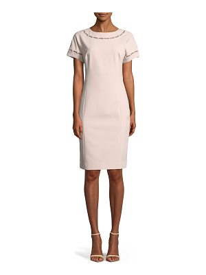 Rickie Freeman for Teri Jon Stretch Crepe Cocktail Dress w/ Pearly Trim