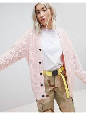 Rip N Dip ripndip oversized button through cardigan with slogan embroidered-pink