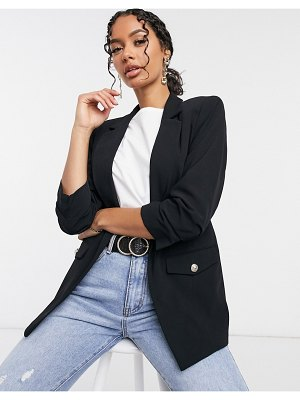 River Island blazer with ruched sleeves in black