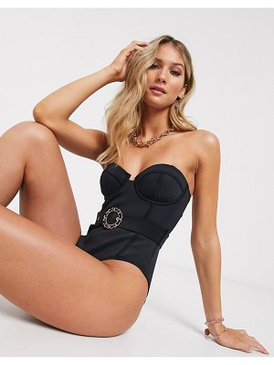 River Island buckle detail swimsuit in black