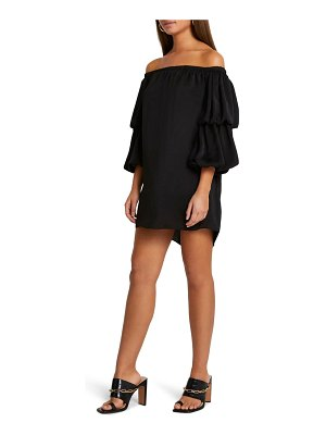 River Island delilah off the shoulder tiered puff sleeve minidress