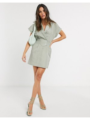 River Island desert luxe dress in sage-green
