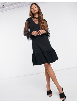 River Island dobby lace ruffle mini dress in black
