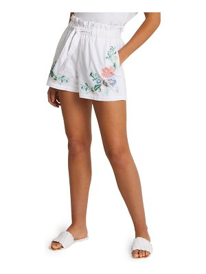 River Island embroidered paperbag waist shorts