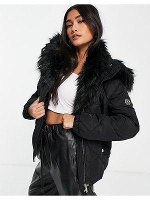River Island faux fur lined padded jacket in black