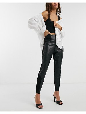 River Island faux leather ponte panelled leggings in black