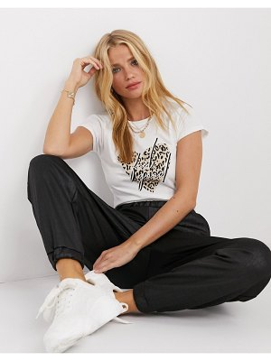 River Island feel good heart slogan t-shirt in white