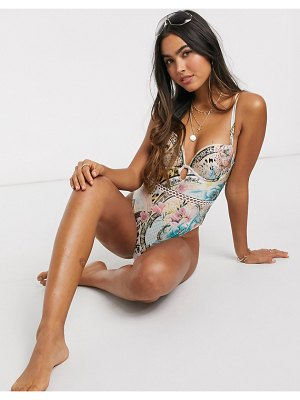 River Island floral print belted swimsuit in blue