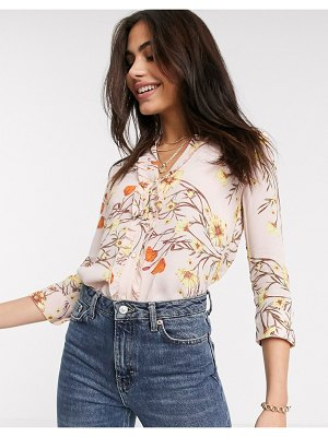 River Island floral print frill front shirt in pink