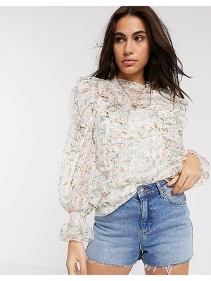 River Island floral print high neck ruffle blouse in cream