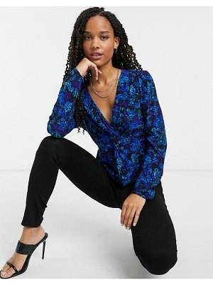 River Island floral print wrap blouse in blue-brown