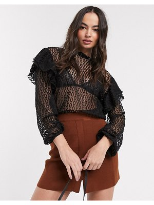 River Island frill shoulder lace blouse in black