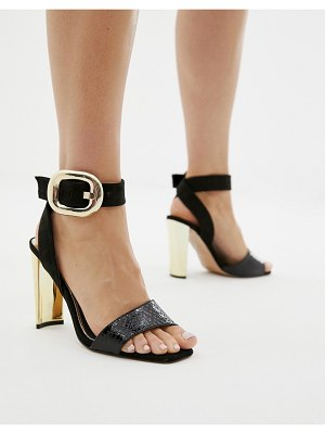 River Island heeled sandals with buckle detail in black
