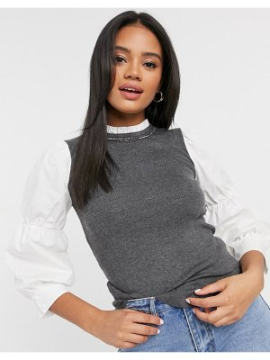River Island hybrid sweater with embellished neck in gray