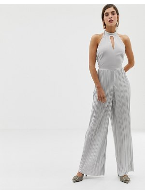 River Island jumpsuit with high neck in silver
