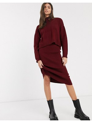 River Island knitted sweater dress in mulberry-purple
