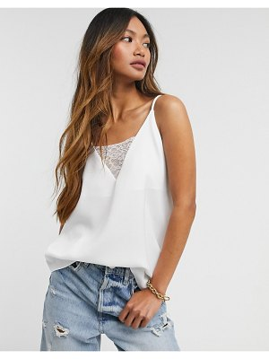 River Island lace insert satin cami top in white