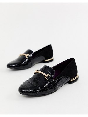River Island loafers with gold buckle in black