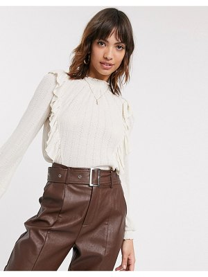 River Island long sleeve frill top in cream
