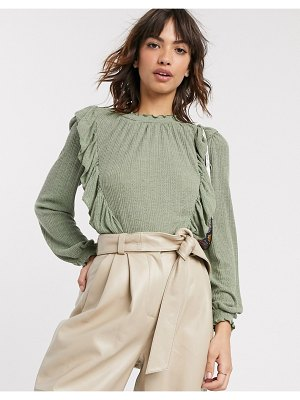 River Island long sleeve frill top in green-black