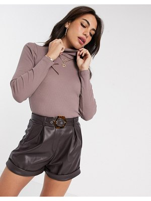 River Island long sleeved roll neck top in mocha-brown