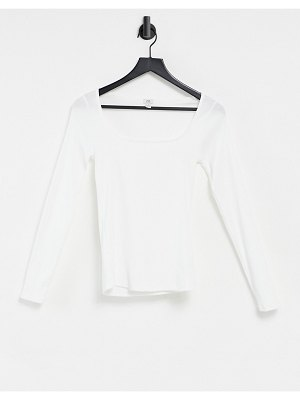 River Island long sleeved square neck top in white