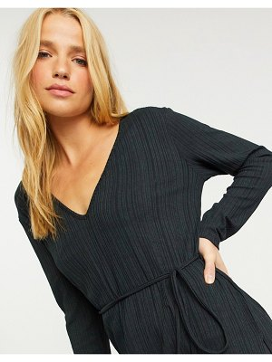River Island longline ribbed tunic top in black