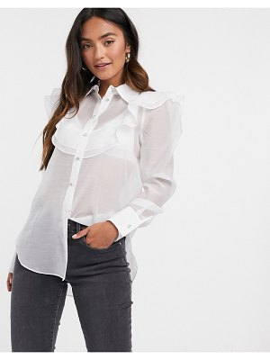 River Island mesh frill front shirt in white
