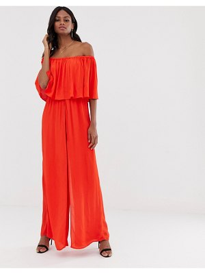 River Island off the shoulder jumpsuit in red