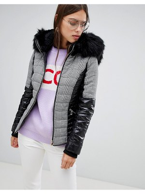 River Island padded jacket with faux fur collar in check-black