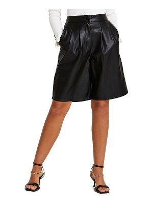 River Island pleated faux leather shorts