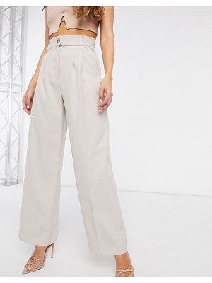 River Island pleated wide leg pants in gray