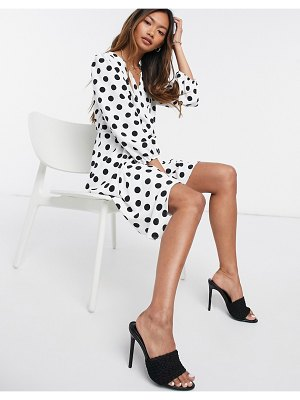 River Island polka dot wrap mini dress in white