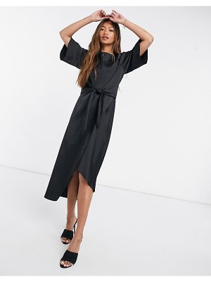 River Island printed asymmetric tie midi t-shirt dress in black