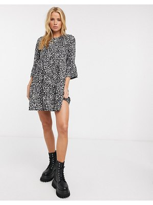 River Island printed smock mini dress in black