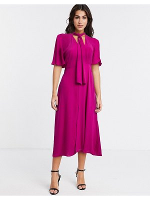 River Island pussybow fluted sleeve midi dress in purple
