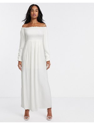 River Island ruched bardot maxi dress in white