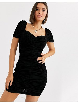 River Island ruched mini dress with puff sleeves in black