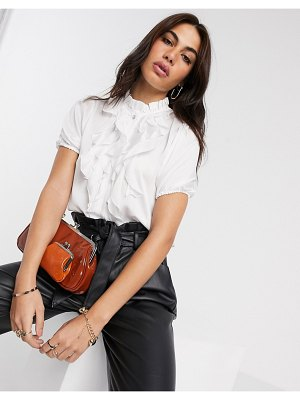River Island ruffle front blouse in white