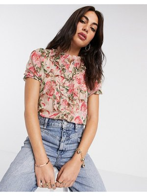 River Island ruffle front floral print top in pink print-white