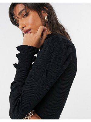 River Island ruffle stitch sweater in black