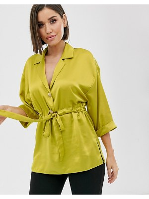 River Island satin shirt with gathered waist in chartuese-yellow